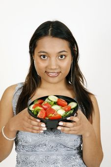 Free Girl Eating Salad Royalty Free Stock Photo - 9303205