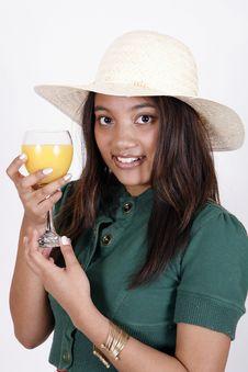 Free Sexy Girl Drinking Orange Juice Royalty Free Stock Photo - 9303235
