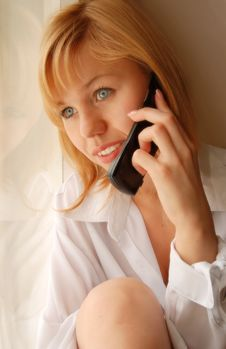 Free Girl With Telephone Stock Photo - 9304360
