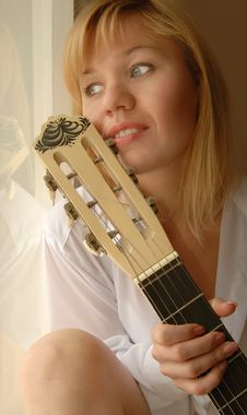 Free Girl With Guitar Stock Photo - 9304370