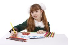 Free Girl Is Drawing  In Pencil. Royalty Free Stock Photo - 9304665