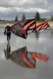 Kite Surfer On Beach Royalty Free Stock Photography