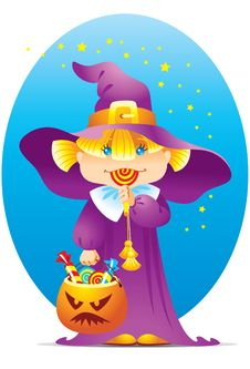 Free Halloween Witch Girl Royalty Free Stock Photography - 9305847