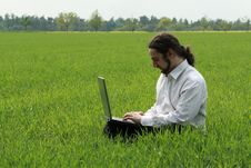 Free Man Sitting On The Grass, Working Royalty Free Stock Images - 9306409