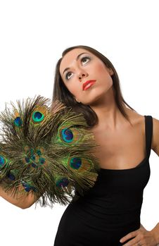 Free Pretty Brunette With Peacock Hand Stock Image - 9307351