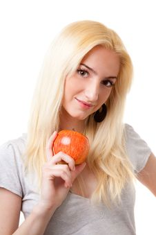 Free Beautiful Blonde Girl With Red Apple Royalty Free Stock Photo - 9307915
