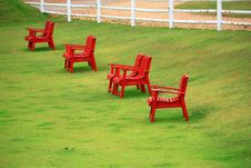 Free Red Chairs On Green Grass In Suan Pheung Ratchabur Royalty Free Stock Image - 9308786