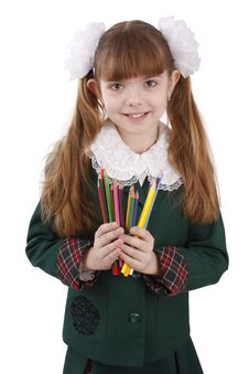 Free Girl With Color Pencils Royalty Free Stock Photography - 9309357
