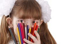 Free Girl With Color Pencils. Stock Image - 9309371