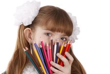 Free Girl With Color Pencils Royalty Free Stock Images - 9309379