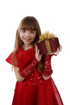 Free Little Girl With Gift. Royalty Free Stock Image - 9309396