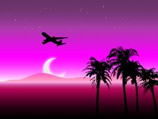 Free Starry Night Travel Landscape Vector Royalty Free Stock Photography - 9309937