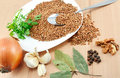 Free An Ingredients For A Boiled Buckwheat Royalty Free Stock Images - 9317109
