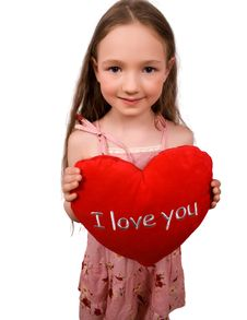 Nice Little Girl With Soft Heart Toy Isolated Stock Image