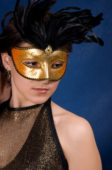 Free The Girl In A Mask Royalty Free Stock Photography - 9312047