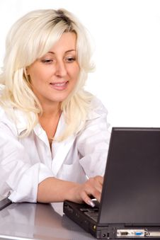 Free Blond Woman Working With Laptop Stock Photo - 9312470