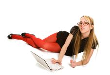 Pretty Woman Working With Laptop On The Floor Stock Image