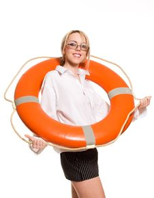 Free Businesswoman With Red Life Buoy Stock Images - 9312604