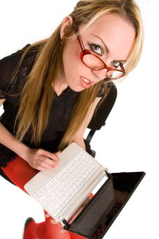 Free Young Woman With Laptop Stock Photography - 9312612