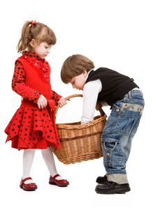 Free Two Beautiful Children With Basket Stock Images - 9312644