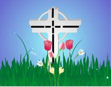 Free Flowers Around A Cross Stock Photo - 9314310