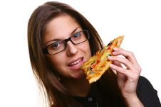 Free Beautiful Young Woman Eating Pizza Royalty Free Stock Image - 9316666