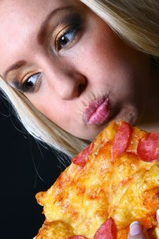 Free Beautiful Young Woman Eating Pizza Royalty Free Stock Photo - 9316825