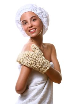 Beautyful Girl With White Towel Stock Photo