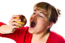 Free Woman With Red Apple Stock Photo - 9318080