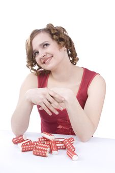 Free Young Woman With Hair-curlers. Royalty Free Stock Photo - 9318275