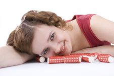 Smiley Woman With Hair-rollers. Royalty Free Stock Image