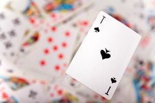 Free Close-up Up Of A Spades Ace Royalty Free Stock Images - 9318429
