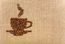 Coffee Cup Over Canvas Background Royalty Free Stock Photography