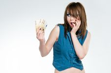 Free Surprised Girl In Dealers Outfit Holding Euro Stock Photos - 9319183