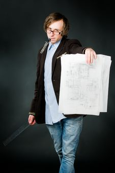 Free Young Architect With Sketch Royalty Free Stock Photography - 9319407