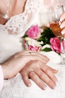 Free Wedding, Hands With Rings. Stock Image - 9319801