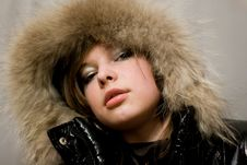 Girl With Fur Stock Photo