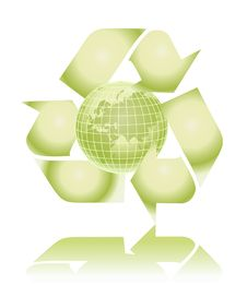 Free Vector Green Globe With Recycling Sign Stock Image - 9320101