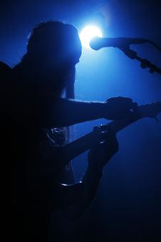 Free Guitar Player Silhouette Royalty Free Stock Photo - 9320215