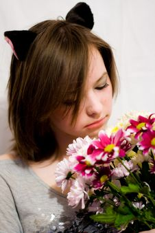 Free Girl With Flowers Stock Images - 9320514