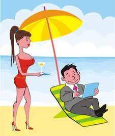Free Businessman On Beach Royalty Free Stock Photography - 9320697