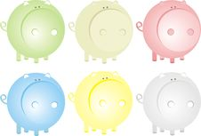 Free Pigs Set Royalty Free Stock Images - 9320789