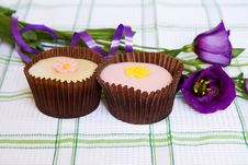 Free Cupcakes With Purple Spring Flowers Stock Photography - 9320832