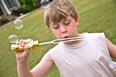 Boy With Bubbles II Royalty Free Stock Photos