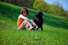 Free The Woman With Black Labrador Stock Photos - 9321683