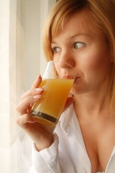 Free Girl With Juice Stock Photography - 9321692