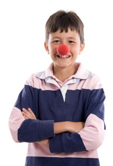 Free Portrait Of An Adorable Child With A Clown Nose Stock Image - 9322421