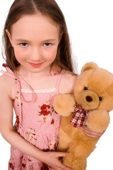 Baby With Bear Toy Isolated Royalty Free Stock Image