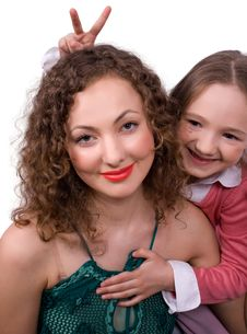 Happy Mum With Little Daughter Stock Photos