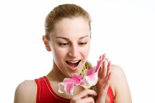 Free Nice Girl With A Pink Lily Stock Images - 9325234